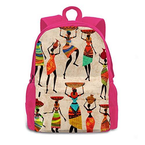 3D Afrikanisches Mädchen tanzt mit Näpfen, Outdoor-Rucksack, Tagesrucksack, Büchertasche, für Damen, Herren und Kinder Gr. Einheitsgröße, rose