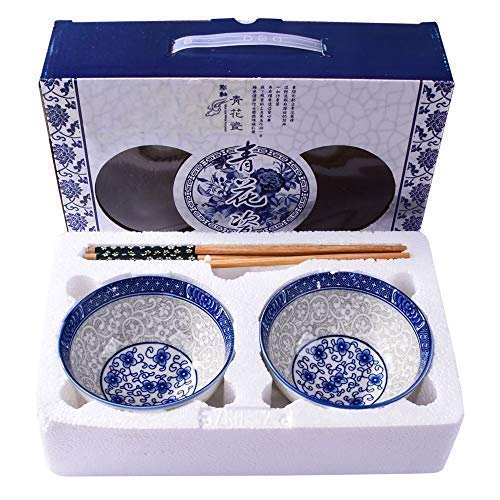 Chinese White and Blue Porcelain Rice Bowls set (2, blue and white porcelain)