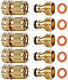 ShowNew Garden Hose Quick Connectors, Solid Brass 3/4 inch GHT Thread Easy Connect Fitting...