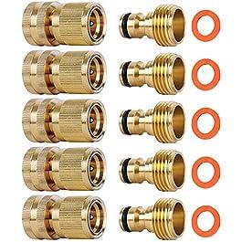 SHOWNEW – Lot de 5 raccords rapides pour tuyau d'arrosage en laiton massif 1,9 cm, filetage GT, raccords faciles à…