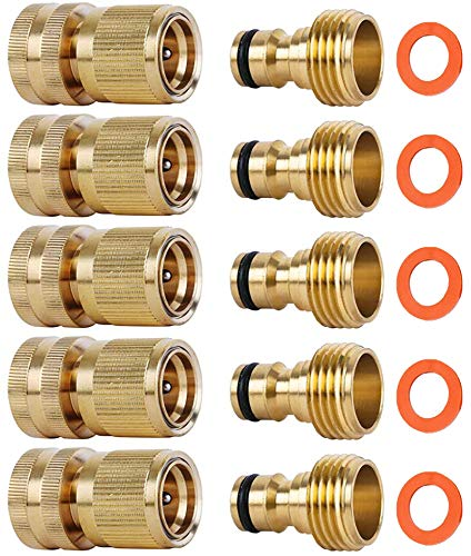 SHOWNEW Garden Hose Quick Connectors, Solid Brass 3/4 inch GHT Thread Easy Connect Fittings No-Leak Water Hose Male Female Value Pack (5)