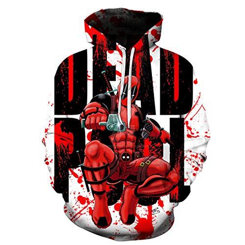 GYMAN Bambino Adulti Superhero Deadpool con Cappuccio 3D Print Antivento con Cappuccio Pullover Cosplay Felpe, per Il Regalo Compleanno di Natale, All'aperto, Viaggi,C-2X