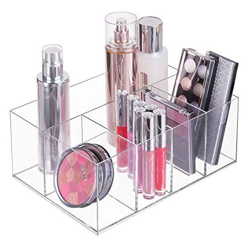 mDesign Kosmetik Organizer – Aufbewahrungsbox mit fünf Fächern für Make-up, Nagellack und Beautyprodukte – die ideale Schminkaufbewahrung – transparent