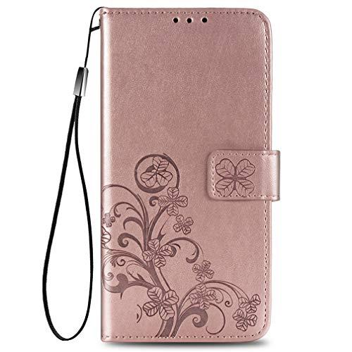 KERUN Hülle für Oppo A53s, Kleemuster Geprägtem PU Leder Handyhülle, Magnetische Filp Schutzhülle mit Kartensteckplätzen/Standfunktion.Rosé Gold