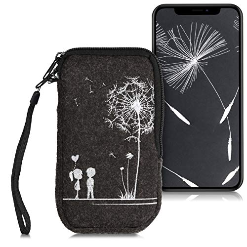 kwmobile Custodia in Feltro con Zip per Smartphone L - 6,5' - Astuccio portacellulare a Sacchetto con Cerniera e Ricamo - Borsa Amore Grigio Scuro/Bianco