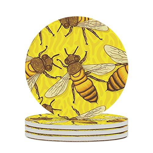 Wraill Posavasos redondos de cerámica con diseño de abejas, color amarillo, juego de 4 o 6 posavasos decorativos con dorso de corcho para tazas y tazas, color blanco, 4 unidades