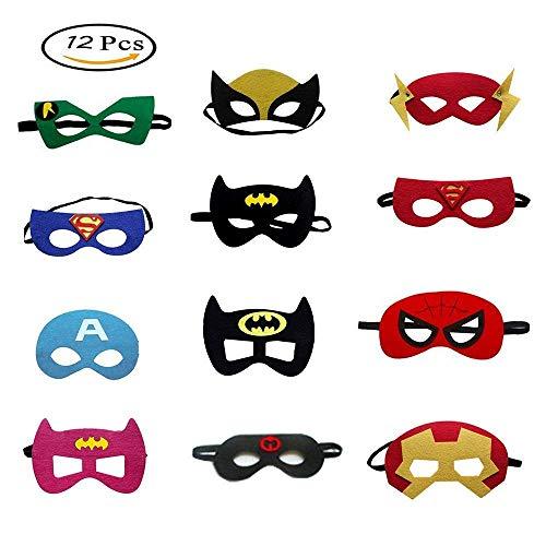 Morkia Masques de Super-Héros, 12pcs Masques pour Enfants Dress Up Masque de Super-héros Cosplay Pour Enfants Cadeaux Danniversaire et Fête dAnniversaire pour Filles, Garçons et enfants