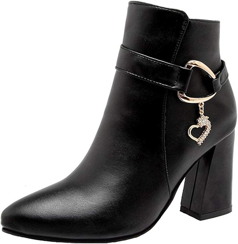Ghapwe Women's Elegant Rhinestone Pendant Belt Side Zipper Ankle Booties Pointed Toe High Chunky Heel Short Boots Black 8 M US