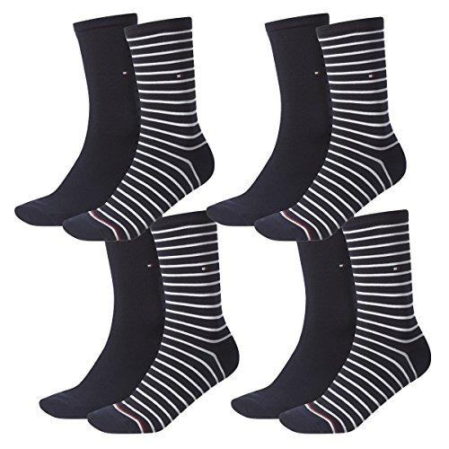 Tommy Hilfiger Damen Socken Small Stripe Casual Socken 4er Pack, Größe:39-42, Farbe:Midnight Blue (563)