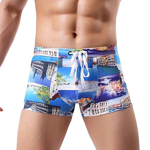 IFOUNDYOU Damen Herren-Boxer-Badebekleidung, Olympischer Gun Print für Herren Boxer-Badebekleidung Comfort 2019