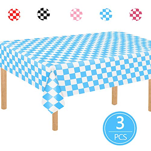 """TONIFUL 3 Pack Blue and White Checkered Gingham Plastic Tablecloth 54""""x108"""" Inch Checkered Rectangle Table Cover for Picnic Party Holiday Dinner Supplies"""