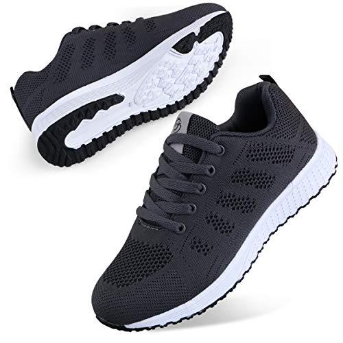 Youecci Zapatillas de Deportivos de Running para Mujer Deportivo de Exterior Interior Gimnasia Ligero Sneakers Fitness Atlético Caminar Zapatos Transpirable Gris 40 EU
