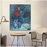 Gerahmtes Poster Marc Chagall, abstraktes Leinwandbild,