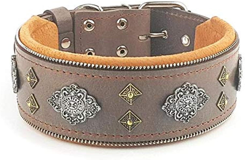 Bestia  Aztec Grey genuine leather big dog collar. Unique rivet design. Soft padded