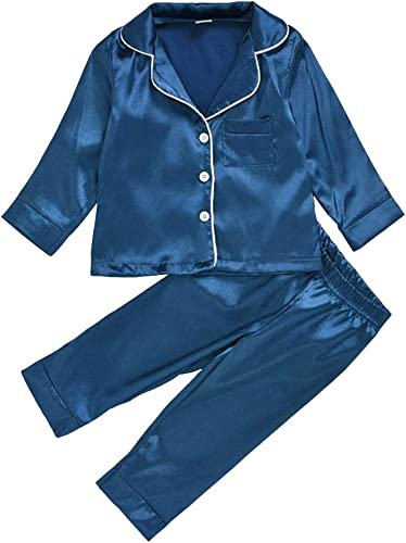 Girls Cotton and Polyester Long Sleeves Solid Sleepwear Set in Dark Blue Color