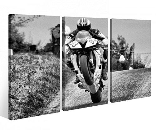 Leinwandbild 3 Tlg. Motorrad Sport Bike Racing Rennen Leinwand Bild Bilder Holz fertig gerahmt 9P922, 3 tlg BxH:120x80cm (3Stk 40x 80cm)