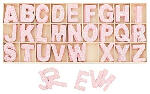 Kleenes Traumhandel - Set di lettere in legno, altezza: 5,4 cm, 104 pezzi, 4 pezzi per lettera, colore rosa