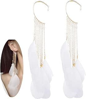 Ear Crawler Climber Womens Tassel Feather Long Ear Wrap Charm Cuff Earring Non Pierced Drop Dangle Earrings for Women – White