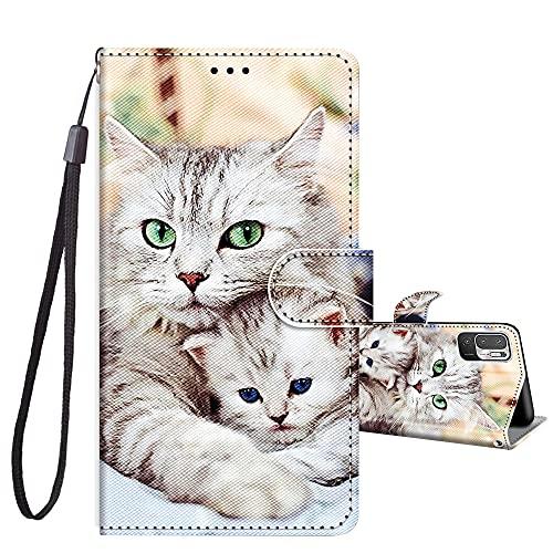 JRIANY Handyhülle für Xiaomi Redmi Note 10 5G Hülle PU Leder Brieftasche Flip Hülle Klappbare Stoßfeste Magnetische Lederhülle mit Muster Schutzhülle für Redmi Note 10 5G Lederhülle, Katze D
