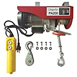 880LBS Lift Electric Hoist Crane Double Line Lift Hoist Remote Control Power System,Steel Wire Overhead Crane Garage Ceiling Pulley Winch w/Emergency Stop Switch (880LBS)
