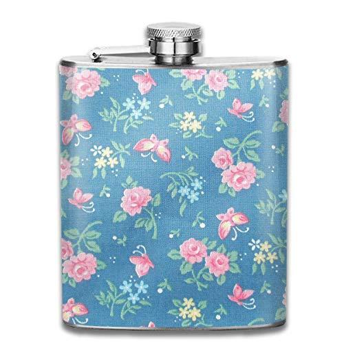 Frasco de flores de color rosa y agua de mariposas y agua de vino para licor, botella de acero inoxidable, alcohol 7 oz