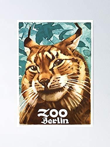 Shining Eye Arts 1930 Ludwig Hohlwein Berliner Zoo Lynx Poster Kein Frame Board für Büro-Dekor, Beste Geschenkfamilie und Ihre Freunde 11,7 * 16,5 Zoll
