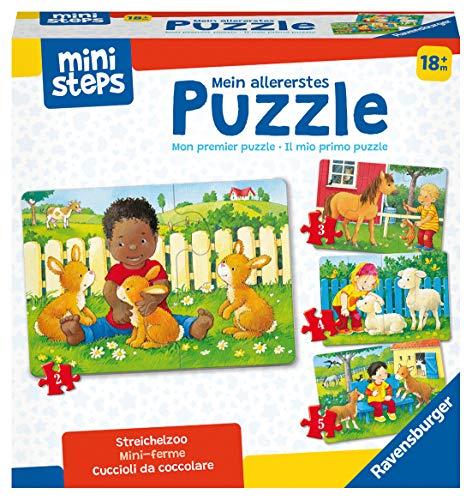 Ravensburger ministeps 4169 Mein allererstes Puzzle: Streichelzoo - 4 erste Puzzles mit 2-5 Teilen, Spielzeug ab 18 Monate