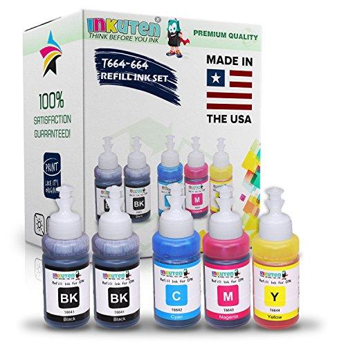 INKUTEN (TM) Set of 5 Refill Ink Kit Ecotank 70ml for T6641 T6642 T6643 T6644 and Expression Eco Tank ET-2550 ET-4550 ET-2500 ET-4500 ET-2650 ET-3600 ET-16500 Printers