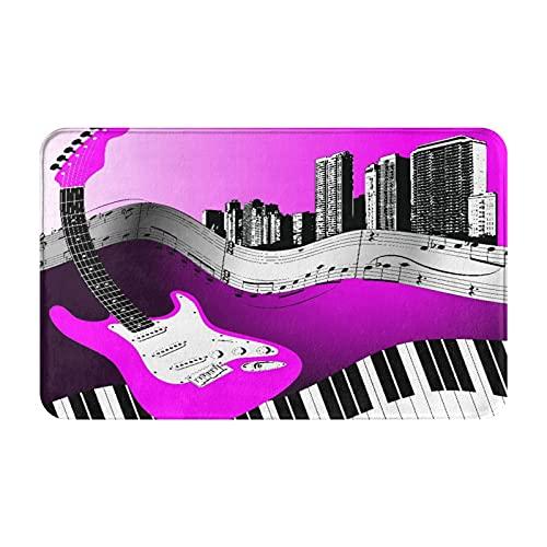 Marutuki Alfombra Decorativa para el Baño,Música de Guitarra de la Ciudad,Alfombra de Baño Suave Antideslizante Micro Felpa,80 x 49 cm