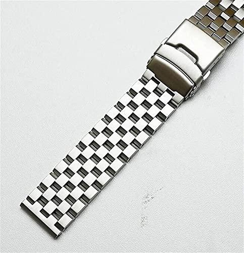 chenghuax Correa de Reloj, 18 mm / 20 mm / 22mm / 24 mm / 26 mm Correa de Acero Inoxidable de Acero Inoxidable Pulsera de reemplazo de Metal para Mujer Black/Silver Brazalet