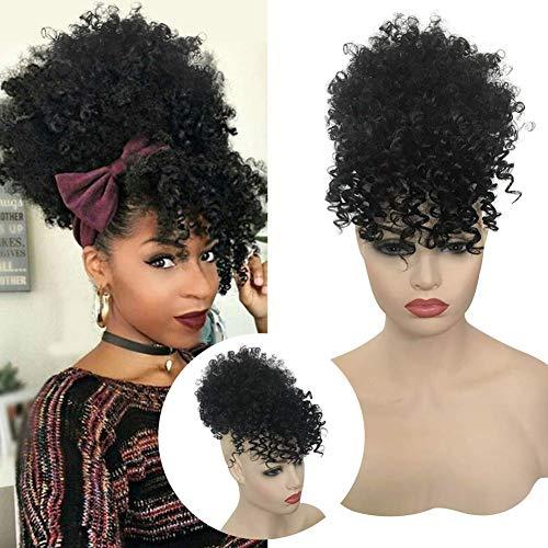 Afro High Puff Haar Gelockt Clip in Pferdeschwanz mit Pony Perücke Haarverlängerunge für African Schwarz Hair Extensions VD046A