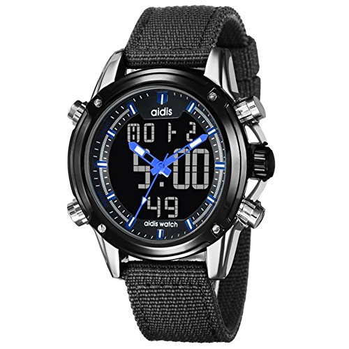 Mens Sports Watch,Table Electronic Watches 30m Waterproof Depth Chronograph Stopwatch Dual Display Luminous Outdoor Multifunction Men's Watches-G