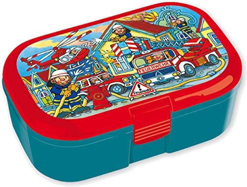 Lunchbox * FEUERWEHR * für Kinder | 10670 | Perfekt für Feuerwehrauto-Fans | Vesperdose Brotdose Brotzeit Schule Grundschule Einschulung Fire Fighter