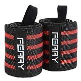 (フェリー) FERRY リストラップ ウエイトトレーニング 手首固定 60cm(2枚組) ブラック/レッド