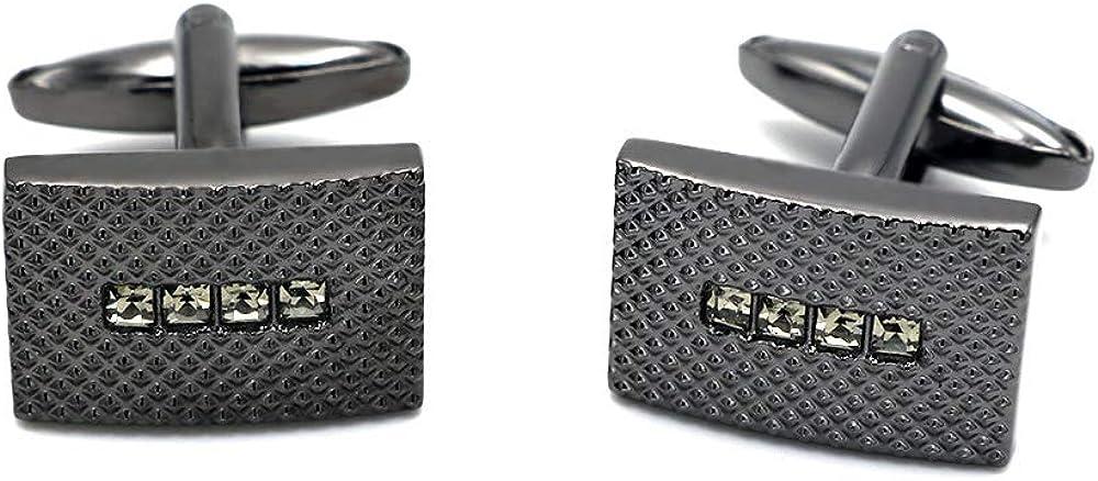 BXLE Official Business Cufflinks in Gift Box, Formal Wear Cuff-Links, Luxury Tuxedo Shirt Studs for Men,Gun Metal Stone Suit Accessories Jewelry