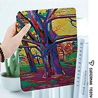 軽量版IPad ケース iPad2 ケース iPad3 ケース iPad4 ケース スタンド機能 レザー(PU) オートスリープ 傷つけ防止 2つ折タイプ iPad2/3/4世代専用スマートカバー春の間にカラフルな森のモッズファンクアートスタイルの絵画Nature Earth Earth Boho