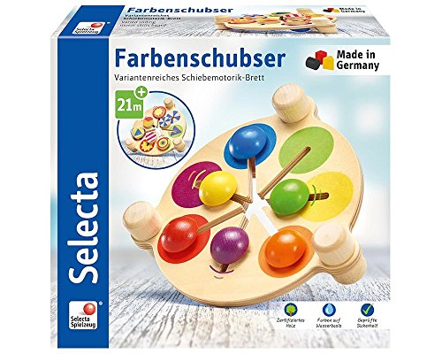 Selecta 62013 Farbenschubser, Motorikspielzeug aus Holz, 19 cm