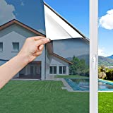 Haton One Way Window Film Mirror Effect, Daytime Privacy Window Tint, Adhesive Reflective Glass Cling Covering, Sun Blocking Anti UV Heat Control Sticker for Home Office, 17.5 x 78.7 inches, Silver