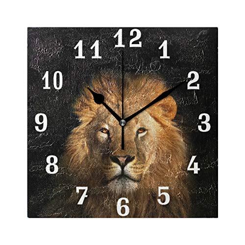 DOSHINE Wanduhr, afrikanischer Löwe, geräuschlos, nicht tickend, für Schlafzimmer, Wohnzimmer, Küche, Heimdekoration