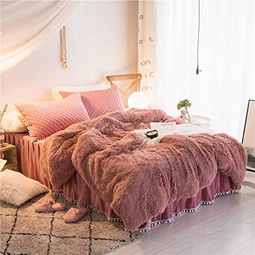 geek cook Flannel winter warm bed linen,Four-piece bed princess style winter coral fleece double-sided fleece girl flannel duvet cover sheet bed skirt-lotus root starch_1.5m (5 feet) bed
