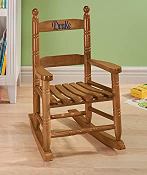 Miles Kimball Personalized Childrens Rocking Chair Features Classic Rocker Design and Hardwood Construction Natural Finish with Blue Font