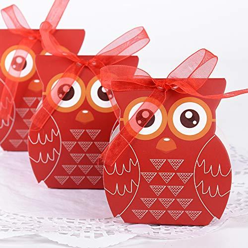 JNCH 50pcs Cajas de Caramelos Dulces Bombones Cajas de Papel para Regalo Recuerdos Invitados de Boda Bautizo Comunión Fiesta Cumpleaños Decoración Forma Búho con Cintas