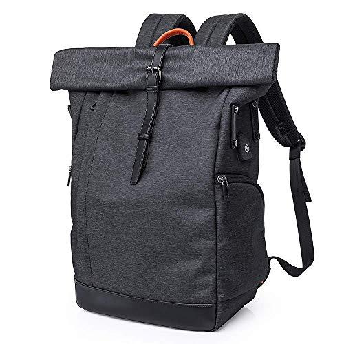 Roll-Top Rucksack 15,6 Zoll Damen Herren,Wasserdicht Tagesrucksack Schulrucksack College-Rucksack Backpack Roll Top Rucksack mit USB (Black)