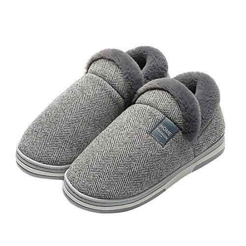 MoneRffi Damen Herren Hausschuhe Winter Memory Foam Pantoffeln Slip-on Weiche rutschfeste Indoor Warme Bequeme Slippers(hellgrau,40/41 EU)