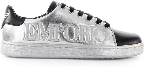 Emporio armani sneaker in pelle argento e nero da donna