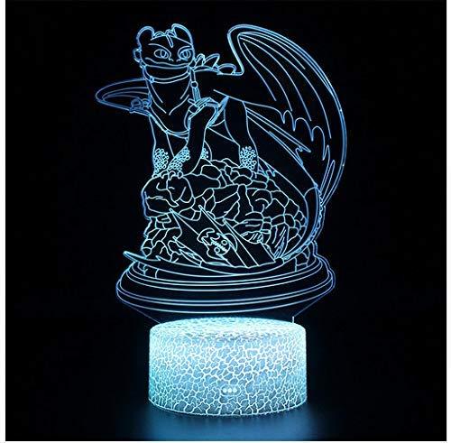 Dragon Toothless Lamps Illusion Contact 3D Tischlampe Nachtlicht Fury Light Led Nachtlicht So Trainieren Sie Ihre Dragon 2-Lampe