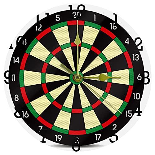 EZIOLY Darts Board - Reloj de pared para deportes, 25,4 cm, silencioso, no hace tictac, funciona con pilas, para el hogar, la cocina, la oficina/la escuela