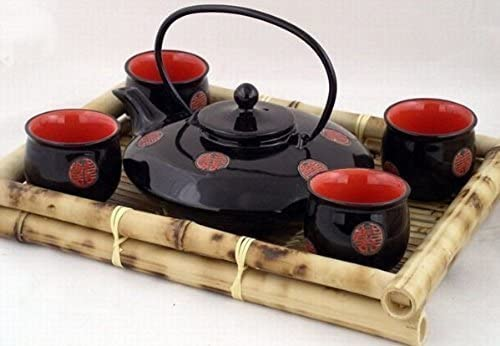 Popular shop is the lowest price challenge Contemporary Art New York Mall Decor Porcelain tea set 5 Wooden Bo pcs In Gift