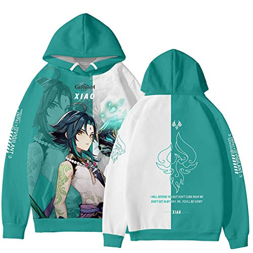 CAFINI Spiel Genshin Impact Character Hoodie Tartaglia/Hutao/Zhongli/Xiao/Ganyu/Ningguang Pullover-Sweatshirt mit neutralem Kontrastdruck Modisches Streetwear-Top (2XS-3XL)