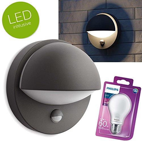 PHILIPS JUNI LED Wandaußenleuchte mit BEWEGUNGSMELDER Außenleuchte Aluminium anthrazit + Philips LED E27 6,7W 2700K warmweiß